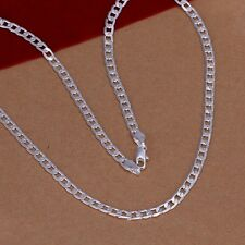 Hot Women Men 925 Sterling Silver Plated 4MM Cute Pendant Necklace Chain Jewelry