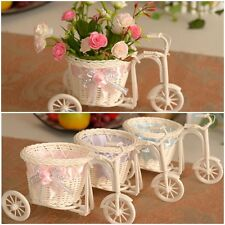 Nice Rattan Flower Bow Tricycle Basket For Flower Vase / Storage Home Decoration