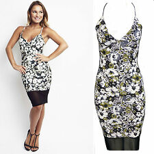 Womens Celebrity Style Sam Faiers Cami Strappy Floral Print Bodycon Midi Dress