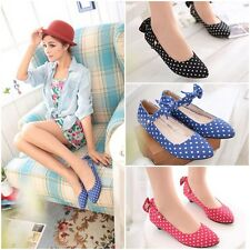 Spring Vogue Womens Girls Bow-knot Buckle Platform Wedges Cloth Low Shoes
