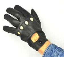 SOFT GENUINE LEATHER BLACK  DRIVING GLOVES ALL SEASONS S M L XL  POLICE GLOVES