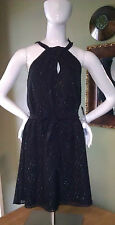 NWT $80 EXPRESS Keyhole Halter Dress Black Clip Dot GORGEOUS In Stores Now!