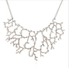 Silver Big Coral Branch Style Statement Chain Chunky Collar Bib Choker Necklace