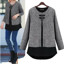 Women New Fashion Loose Fake Two-piece Long Sleeve T-shirt Tops Blouse Plus Size