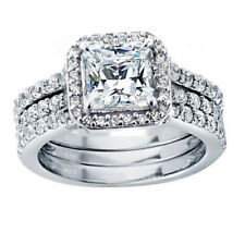 Nice 3 Pcs Womens Princess Cut .925 Sterling Silver Wedding Engagement Ring Set