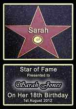 HOLLYWOOD STAR Personalised birthday gift for her him present idea fun 16 18 21