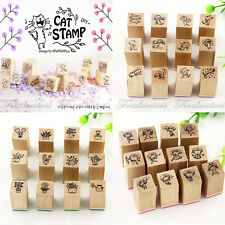 4Types New DIY Cartoon Stamps Cute Mini Creative Wooden Rubber Stamp Diary Art