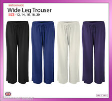 New Ladies Wide Leg Elasticated Soft Jersey Women Trousers Plus Sizes 12-20
