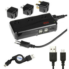 3 Outlet Power Voltage Converter+2pc Micro-USB Cable For Cell Phone Tablet