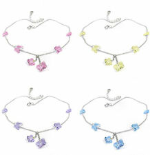925 Sterling Silver Butterfly Anklets made with Swarovski Crystals