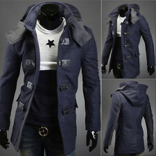 Men's Long Sleeve Overcoat Jacket Hooded Parka Winter Warm Trench Coat Outwear