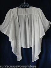 NEW Womens Ivory Chiffon Bolero Shrug Jacket Cardigan Sheer 1X 2X Yummy PLUS