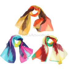 Ladies Women's Chiffon Colorful Printed Soft Long Neck Wrap Scarf Shawl Stole