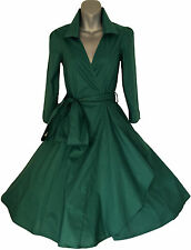GREEN 50'S STYLE ROCKABILLY PINUP SWING  WRAP EVENING PARTY DRESS  6- 22