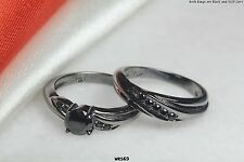 WOMENS BLACK GOTH STERLING SILVER 925 ROUND CUT 0.6CTW ENGAGEMENT WEDDING RINGS