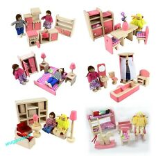 Pink Wooden Dolls House Furniture Miniature 6 Room Set/4 Dolls Kid Christmas Hot