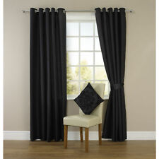 PAIR OF LUXURY FAUX SILK EYELET RING TOP CURTAINS WITH TIEBACK FREE POSTAGE