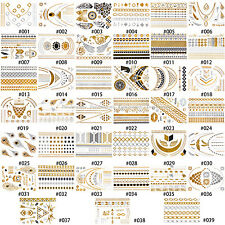 1 Sheet NewTemporary Metallic Tattoo Gold Silver Black Flash Tattoos Removeabl