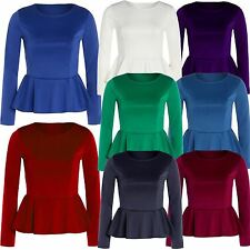 New Womens Plus Size Crop Waist Frill Peplum Tops Long Sleeve Skater Tops 8-26