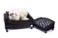 Wicker pets bed sofa for dog and cat 2 colour and 2 size with cushion washable