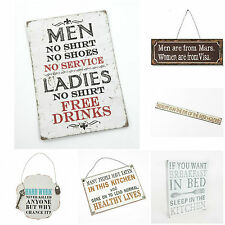 NEW Heaven Sends SHABBY CHIC Vintage Rustic Metal Iron FUNNY WALL PLAQUE SIGNS