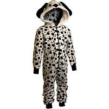 Girls Supersoft Fleece Hooded Novelty Dalmation Dog Onesie White Black 2-11yrs