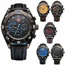 Shortfin Shark 2nd Generation Big Case Date Day Leather Army Mens Sport Watch