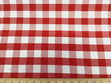 Discount 62 inch wide Twill Tablecloth Fabric Red and White Check DR18