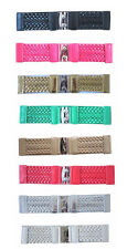 "S44 - 3"" WIDE BRAIDED LEATHER & STRETCH MATERIAL LADIES BELT, 8 COLORS, ONE SIZE"