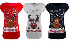 WOMENS CHRISTMAS T-SHIRT LADIES RUDOLPH REINDEER TOP SHIRT