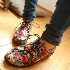 New Lace-Ups Shoes Women's Preppy Style Bohemian Floral Flat Fashion Confortable