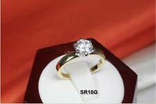 ROUND 1.2C SOLITAIRE 10K GOLD PLATED 925 STERLING SILVER ENAGEMENT RING SR18G-MF