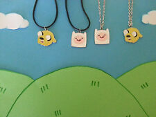 ADVENTURE TIME INSPIRED JAKE & FINN NECKLACES LEATHER/SILVER TONE FREE GIFT BAG
