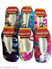 LADIES HEARTS WARM AND COSY SHERPA BALLERINA STYLE SLIPPER SOCK SHOE 5 COLOURS