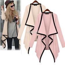 Vintage Womens Long Sleeve Jacket Coat Parka Irregular Hem Trench Windbreaker LM