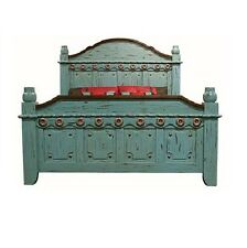 Turquoise Grand Bed King Queen Real Solid Wood Rustic Western Cabin Lodge