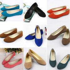 Women Lady Suede Slippers Loafers Moccasins Ballerina Ballet Slip-on Flats Shoes