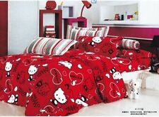 red cartoon cat hello kitty Cotton king double Size Duvet / quilt Cover bed Sets