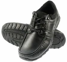 Kids Black Leather Red Tape Lace Junior School Shoes hardwearing UK 1 2