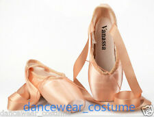 Ladies Girls Satin Ballet Pointe Shoes with Ribbon Dance Toe Shoes All Size Pink