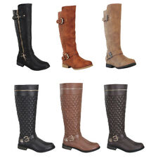 Womens Boots Fashion Knee High Riding Flat Heel Faux Leather Black Brown Soon Sz