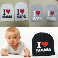 Lovely Warm I LOVE MAMA/PAPA Knitted Cotton Beanie Cap for Baby Boy and Girls