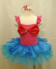 Little Mermaid Ariel Christmas Costume Outfit Girls Party Tutu Dress Up+Headband
