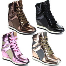 Reneeze KELLEY-2 Women High Top Wedge Heel Lace Up Sneaker Ankle Bootie
