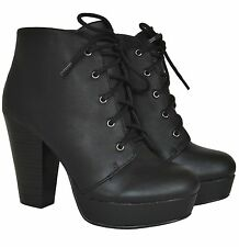 Women's Black Faux Leather Lace Up Chunky High Heel Platform Ankle Bootie AGENDA