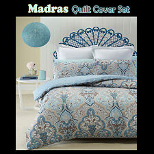 Madras White Blue Taupe Quilted QUILT COVER Set - QUEEN KING