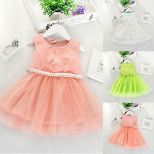 New Chiffon Neon Candy Colors Baby Girls Faux Pearl Dress With Flowers