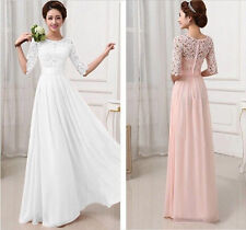 Womens Lace Dress Formal Evening Wedding Long Prom Gown Bodycon Dresses 6-12