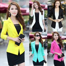 Women 3/4 Sleeve Slim One Button Work Casual Blazer Suit Jacket Coat Outwear