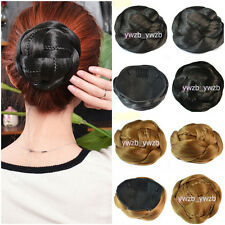 Womens Cute Clip-on Synthetic Hairpiece Dish Hair Bun Contract Tail Wig 15Colors